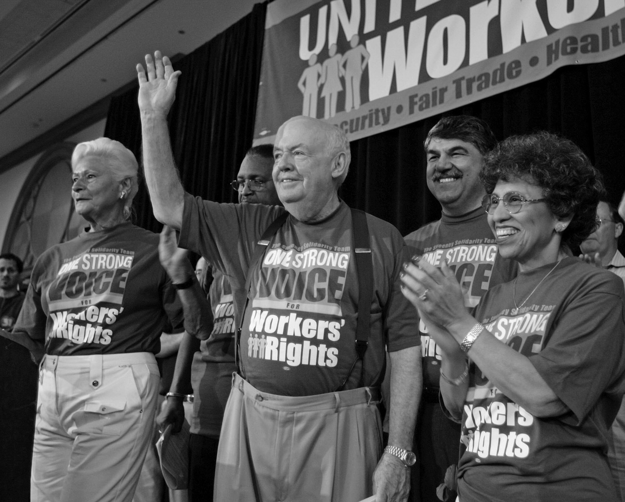 John Sweeney, center, after speaking at a union solidarity rally in Chicago in 2005. At right was his deputy, Linda Chavez-Thompson, executive vice president of the A.F.L.-C.I.O. Behind him, at right, was his eventual successor, Richard L. Trumka. Credit: Brian Kersey/Associated Press